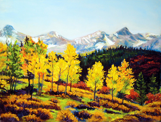 """Aspen Fall Colors,"" painting by Vickie Rosenzweig. She is one of the artists who are featured in the Steamboat Springs Arts Council's Artist Studio Tour on Saturday."