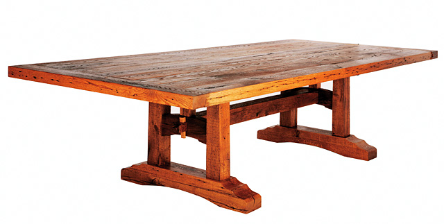 This custom made oak dining room table is one of Mike Roach's favorite pieces. He made it out of old barn beams that he had to re-saw and kiln dry. The table is almost 4.5-feet wide, 10-feet long and 2.5-inches thick. Mike Roach's studio and showroom is part of the Steamboat Springs Arts Council's Artist Studio Tour on Saturday.