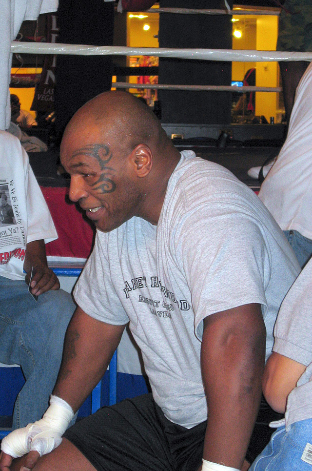 Mike Tyson takes a break after training in the boxing ring in the Aladdin Hotel and Casino in Las Vegas last weekend.