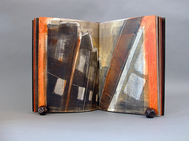 """""""Bricks and Trains,"""" handmade multi media book by Laura Wait. The original manuscript is by Wait, a memoir of time spend in London, England, when she was studying bookbinding. The manuscript is handwritten on pages painted with acrylic, with brick motifs applied with a specifically made brayer. Each book (there are seven varied editions) has two color monoprints and six etchings, inspired by drawings when she lived in England in the late 1970's. The monoprints are unique to each book, although they have related imagery. Six etching are printed on Japanese Udaban paper."""
