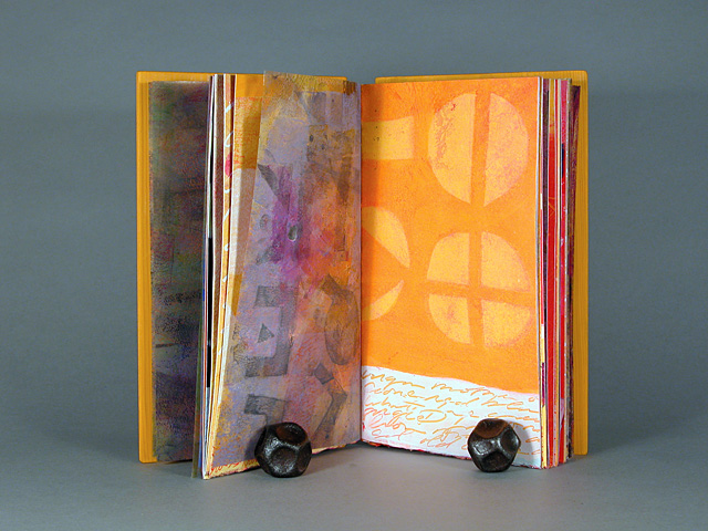 """""""Abstract Illegible,"""" handmade book by Laura Wait. The pages are mixed media: acrylic paint, ink, using stencils and paste on Arches Cover paper and Mylar. Handwriting words are employed as imagery, with textual reference, but not necessarily legible. The abstract shapes are similar to the word shapes."""
