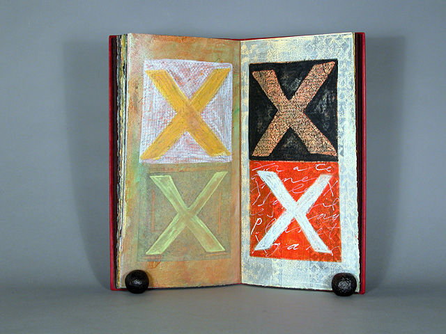 """A page from """"X, letter of danger, sex, and the unknown,"""" handmade book by Laura Wait. Collographs and paste stencils were used to create shapes throughout the book. Multimedia painting on BFK rives paper using acrylic, paste, Akua color, ink on top of prints of woodcuts and text from """"In the Garden."""" Layers of handwriting created using a ruling pen and traditional pointed pen."""