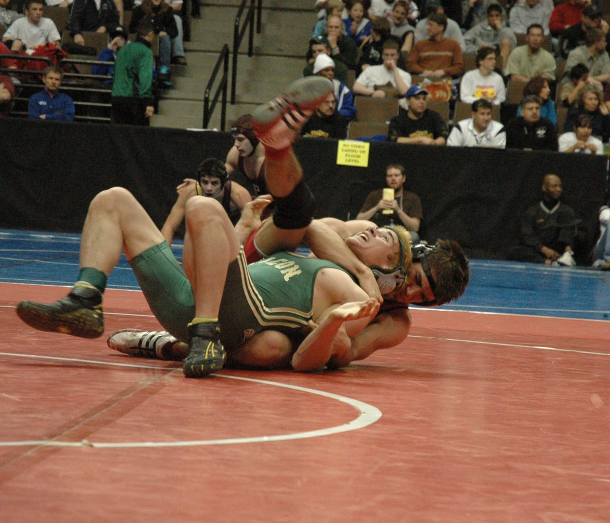 Steamboat senior Houston Mader defeated Falcon sophomore Jose Cos, 4-2, in the first round of Thursday's CHSAA State Wrestling Tournament in Denver.