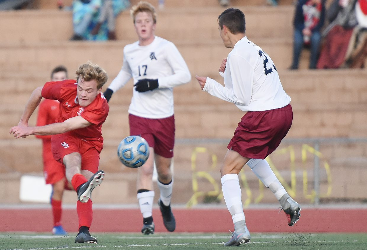 Steamboat's Nik Kocik lets loose a shot Tuesday against The Classical Academy.