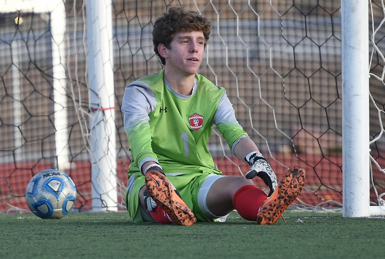 Steamboat goalie Cruz Erickson looks on after The Classical Academy took a 3-0 lead moments before halftime by putting away a pentalty kick.