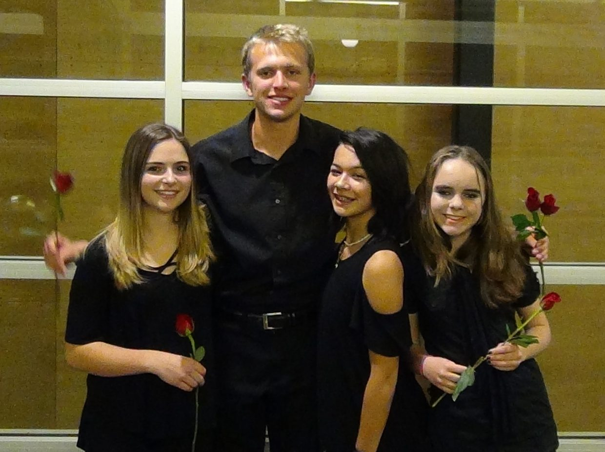 Four outstanding Soroco High School Band students were selected through a rigorous audition process to participated in the Northwest Colorado Music Educators High School Honor Band, an ensemble comprised of 80 of the best High School musicians from 15 different schools in Northwest Colorado.  After two days of rehearsal together, this outstanding group of young people performed at Harris Concert Hall in Aspen on November 4th.  Pictured left to right is Jadyn Ellis (Sophomore,  Clarinet), Ben Kelley (Senior, Trombone), Kaedynce Kaleikini (Freshmen, Trumpet) and Sherese Ebaugh (Sophomore, Clarinet).