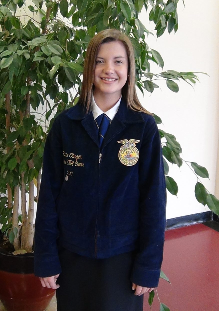 Katelyn Olinger (Junior) was chosen as one of 80 High School and College college students from across the nation to represent Colorado, Soroco FFA and Soroco Music as a member of the National FFA Chorus.