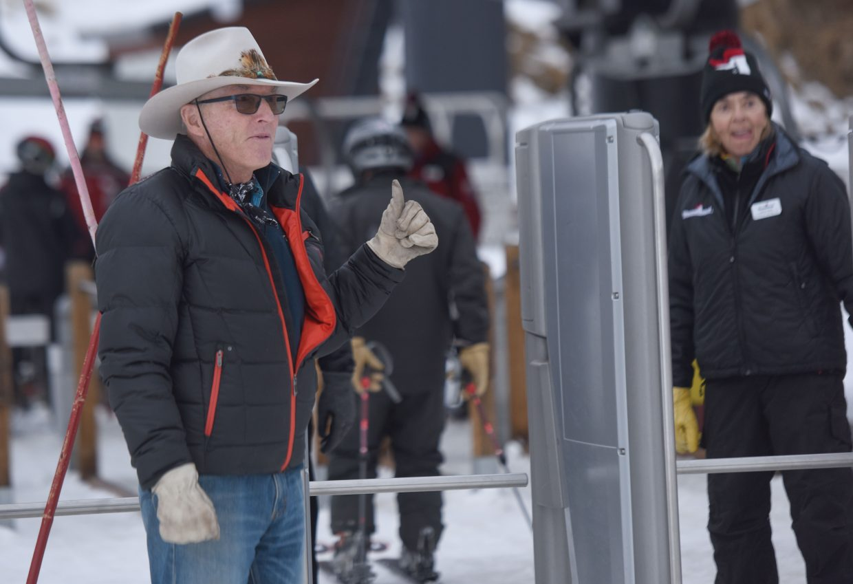 Steamboat Springs' Billy Kidd was on hand at the Steamboat Ski Area  to greet skiers for the first runs of the season Wednesday. The Steamboat Ski Area officially ushered in the 2017-18 season with Scholarship Day — the traditional opening of the ski season — with proceeds going to the Steamboat Springs Winter Sports Club.