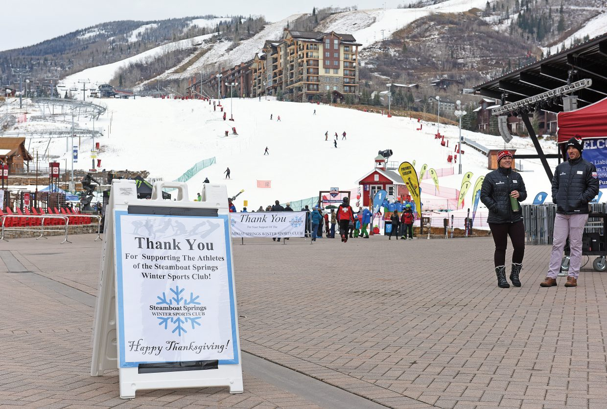 A 'thank you' sign from the Steamboat Springs Winter Sports Club thanks skiers and riders as they arrive at the Steamboat Ski Area Wednesday monring for the first day of the ski season.