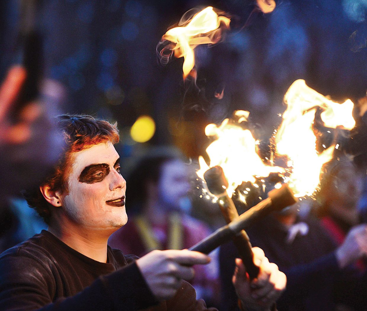 Performer Josh Killian puts on a show along Lincoln Avenue as part of the 2017 Halloween Stroll on Lincoln Avenue.
