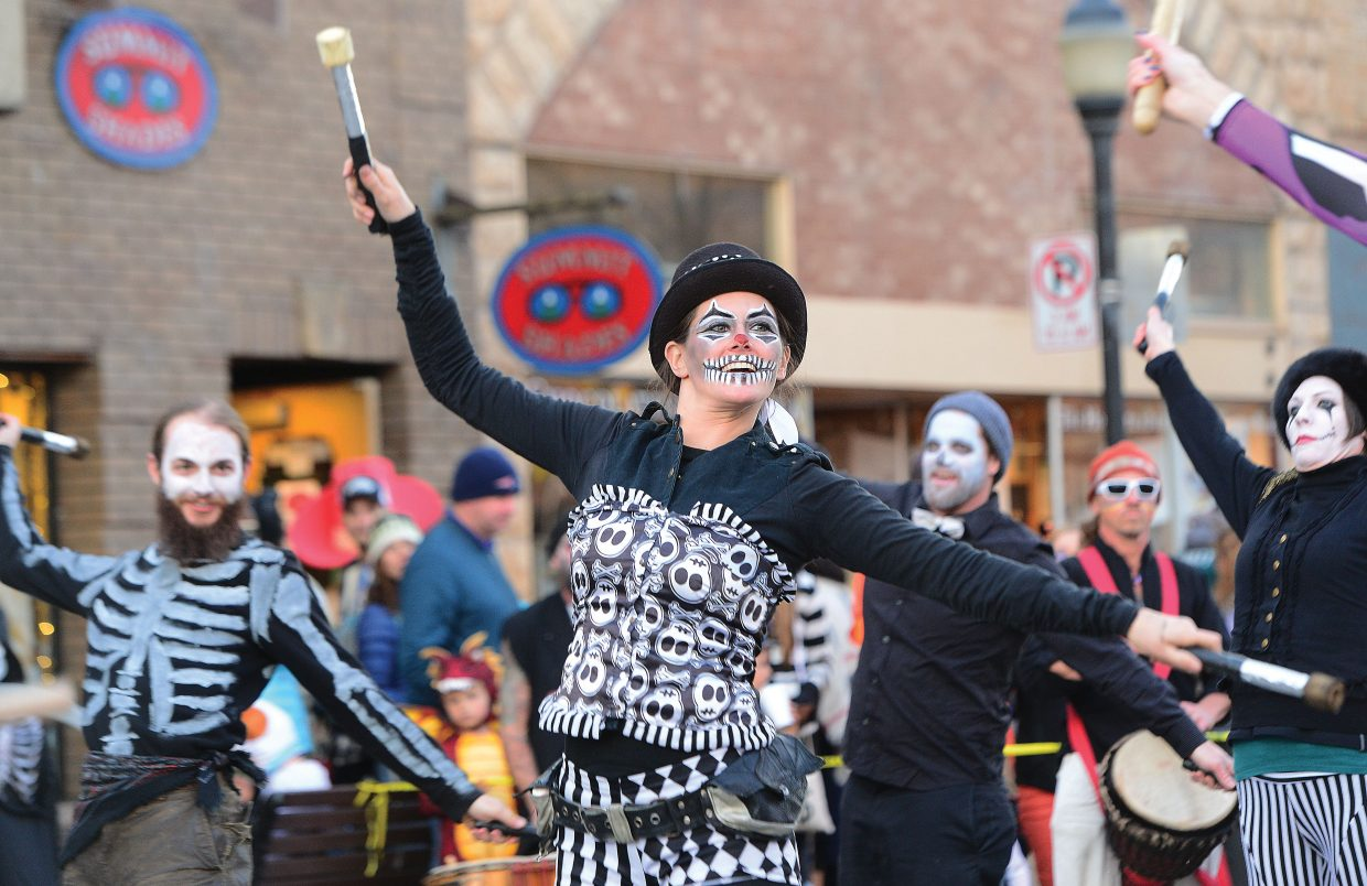 Rose Ashes and the Teamboat Pyroneers perform at the Halloween Stroll in downtown Steamboat Springs.