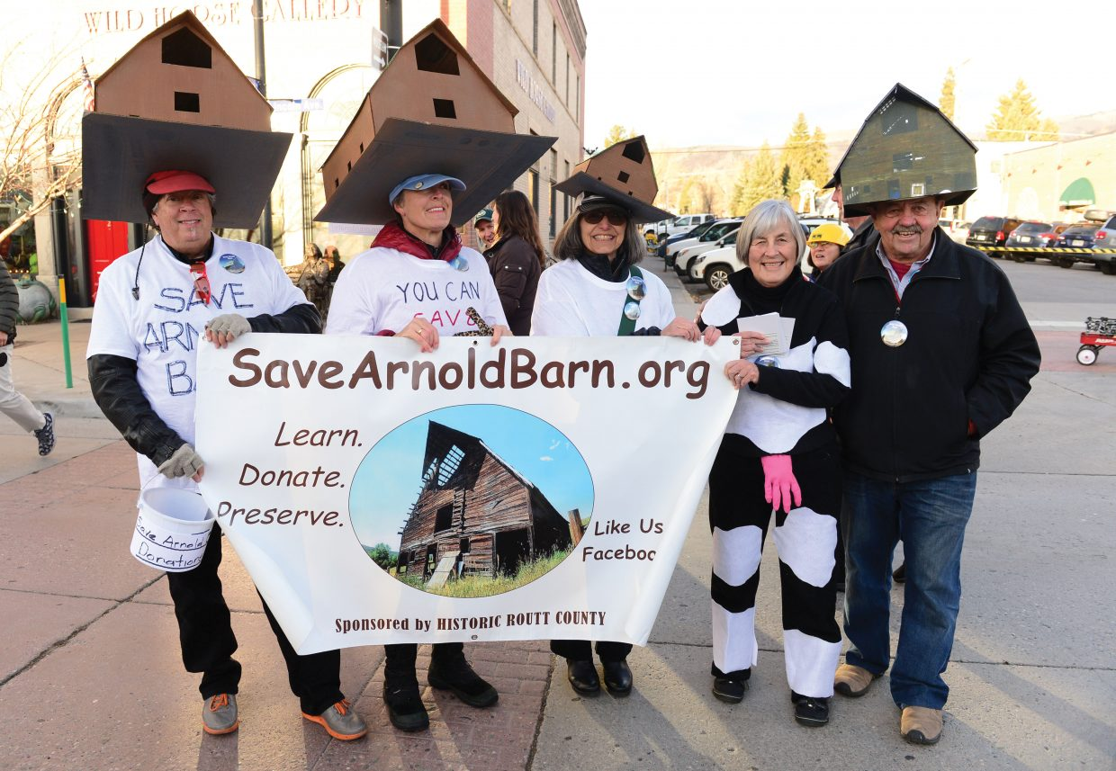 Bill Latoza, Sally Tesstrake, Arianthe Stettner, Jan Dring, and Bill Dring, from left, had the Arnold Barn on their minds during this year's Halloween Stroll in downtown Steamboat Springs.