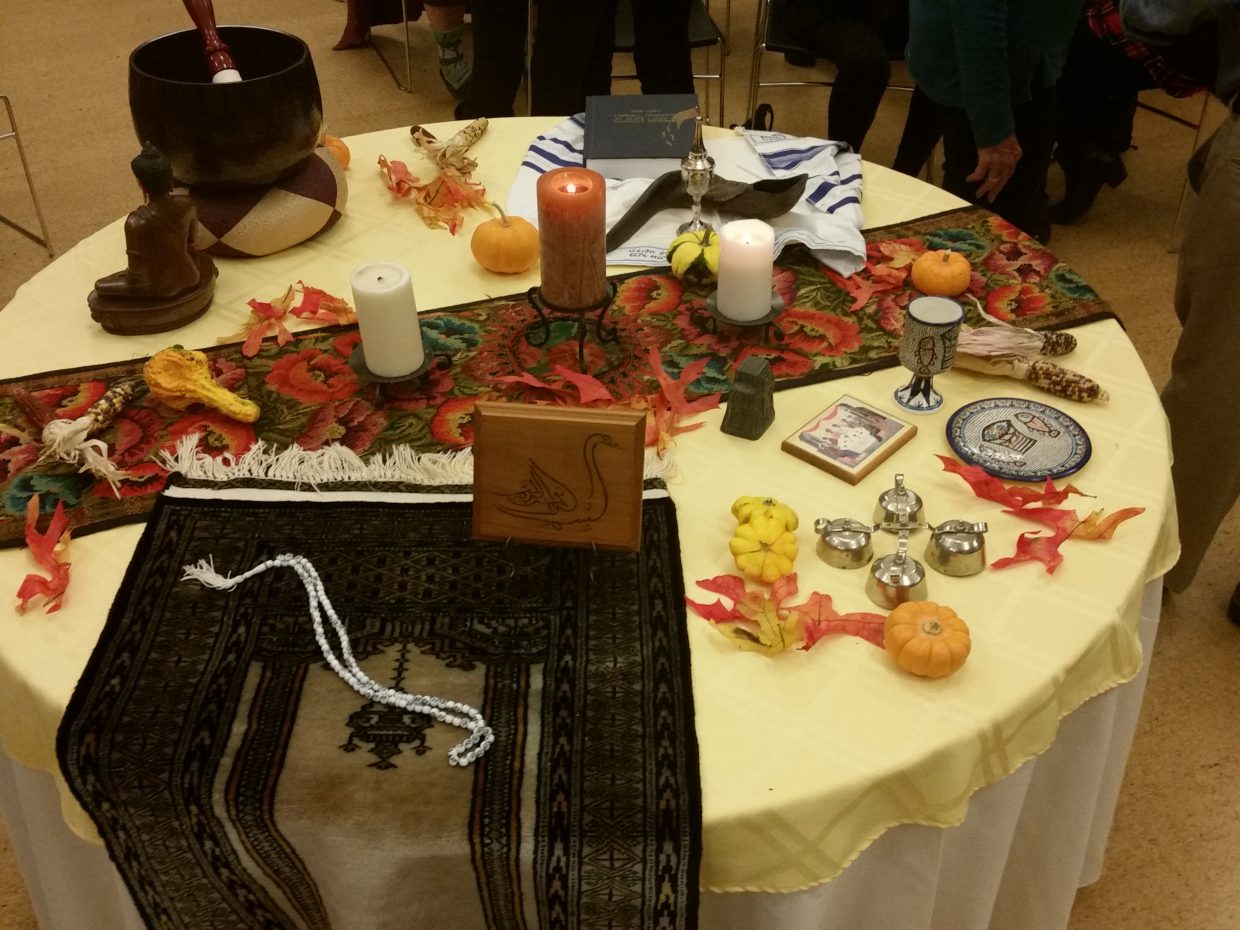The table at the multi-faith gratitude celebration sponsored by Exploring the Sacred on Nov. 9.