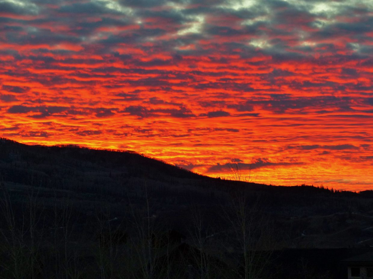 Wow, was it ever spectacular Saturday to see the Steamboat sunset. It looked like hot lava.