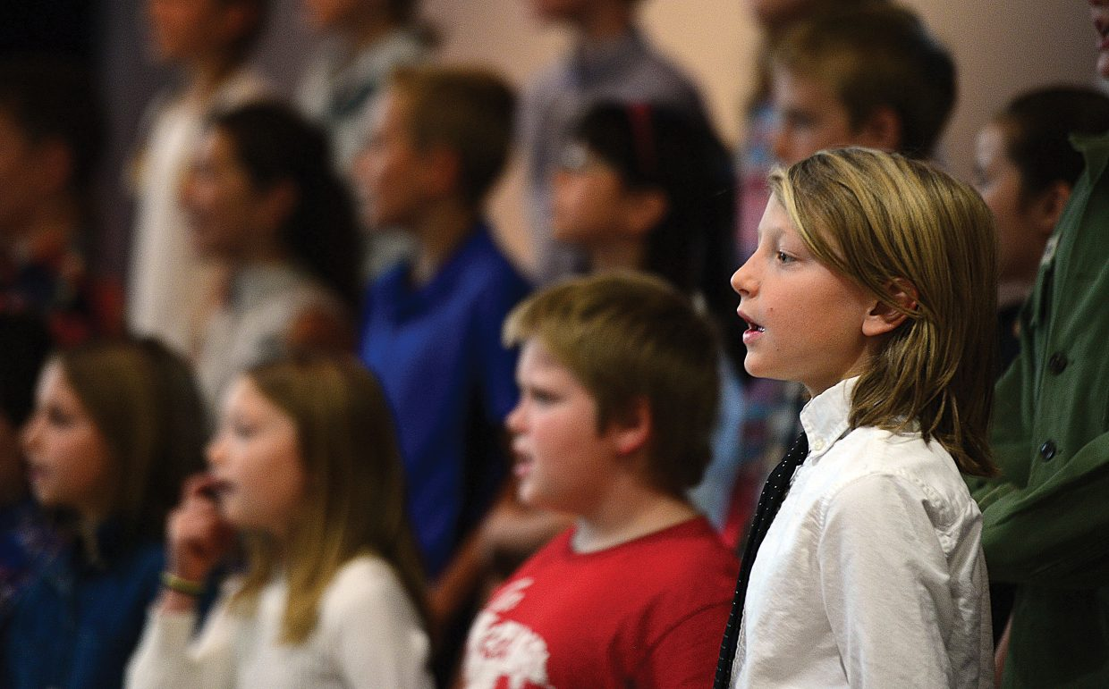 Caman Beauregard sings his part Friday morning as the fifth-grade class at Soda Creek Elementary School put on its annual Veterans Day program for parents and veterans in Routt County. A similar presentation was hosted by Strawberry Park Elementary School students.