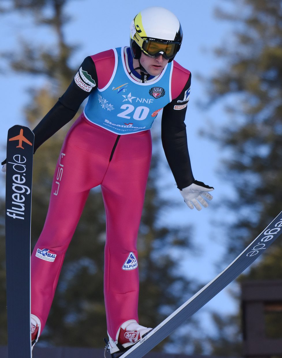 Grant Andrews, a Steamboat Springs and U.S. team Nordic combined athlete, looks for his landing Friday at the Continental Cup in Steamboat Springs.