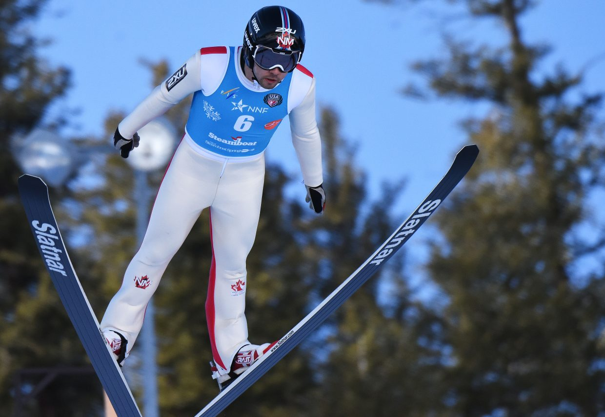 Canada's Nathaniel Mah flies off Howelsen Hill on Friday during the Continental Cup in Steamboat Springs.