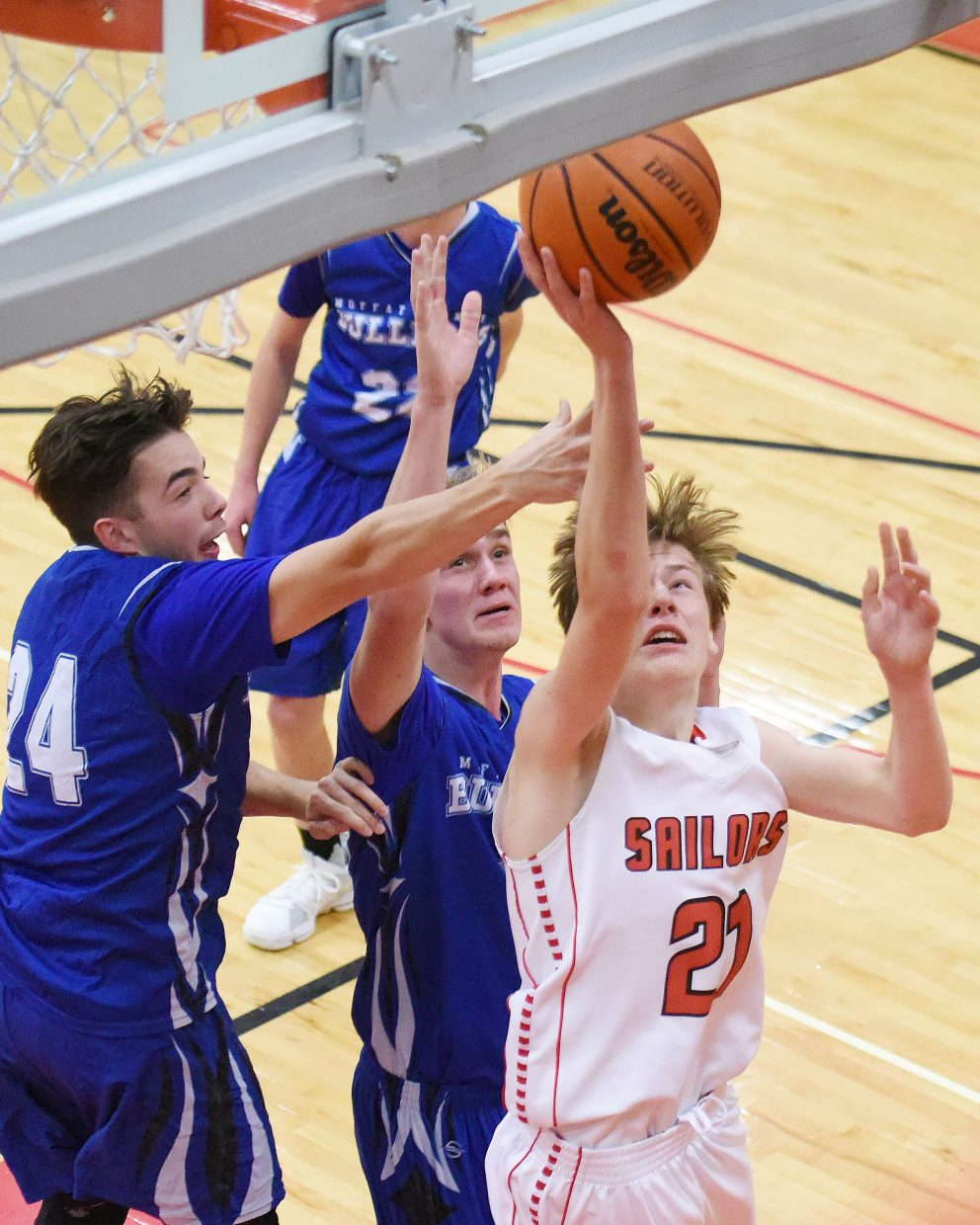 Steamboat's Trace Walker goes up for a shot Friday against Moffat County.