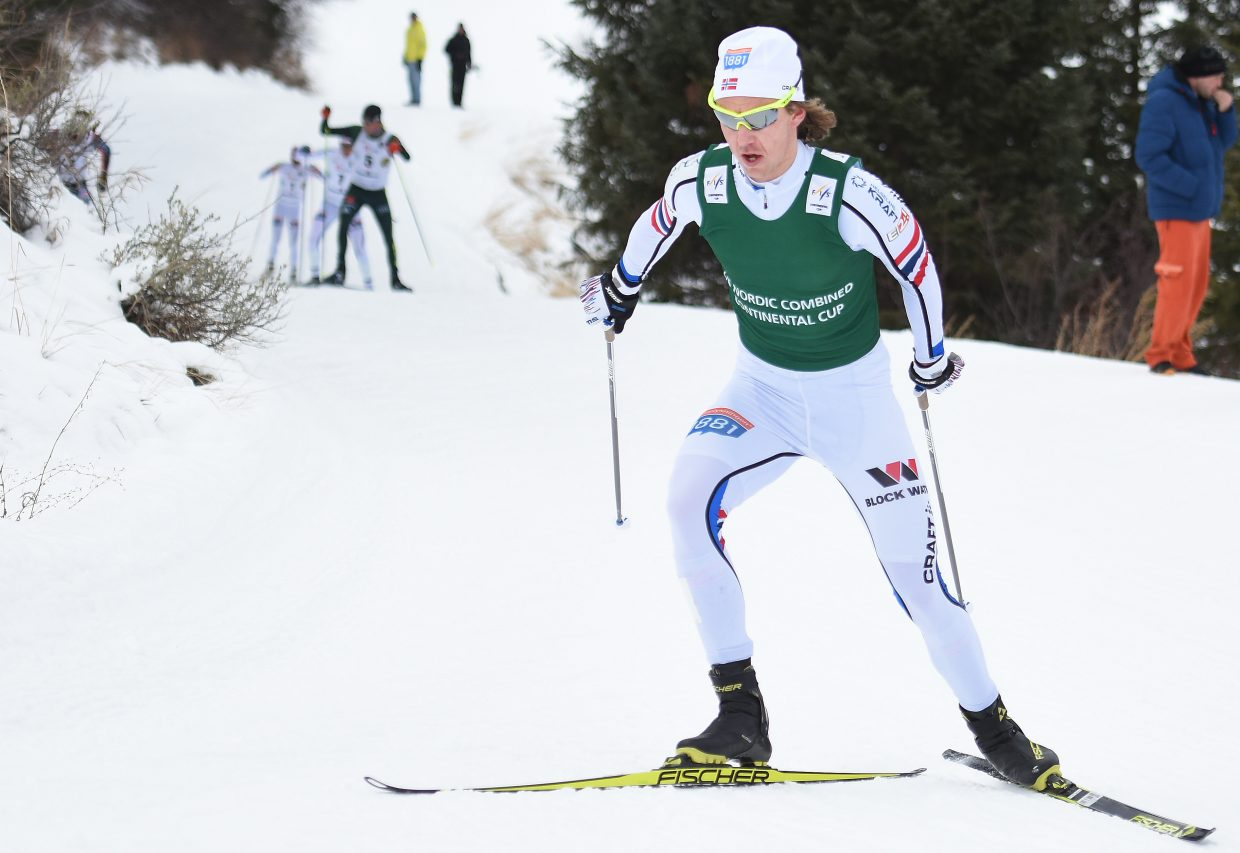 Norway's Mikko Kokslien works up a hill as he leaves the pack in the dust midway through Saturday's Continental Cup Nordic combined cross-country ski race at Howelsen Hill in Steamboat Springs.