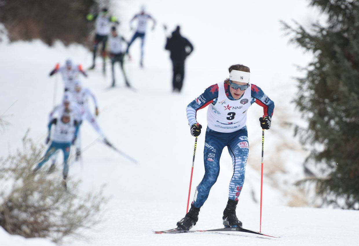 Ben Loomis skis in front of a big chase pack Saturday during a Continental Cup event in Steamboat Springs.