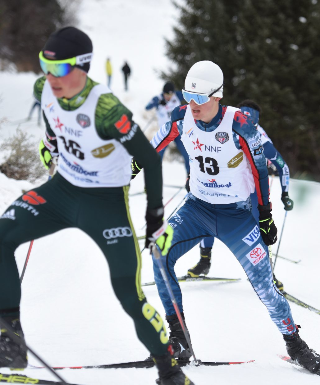 Jasper Good hangs in a pack near the front of the race Saturday during a Continental Cup Nordic combined event in Steamboat Springs.