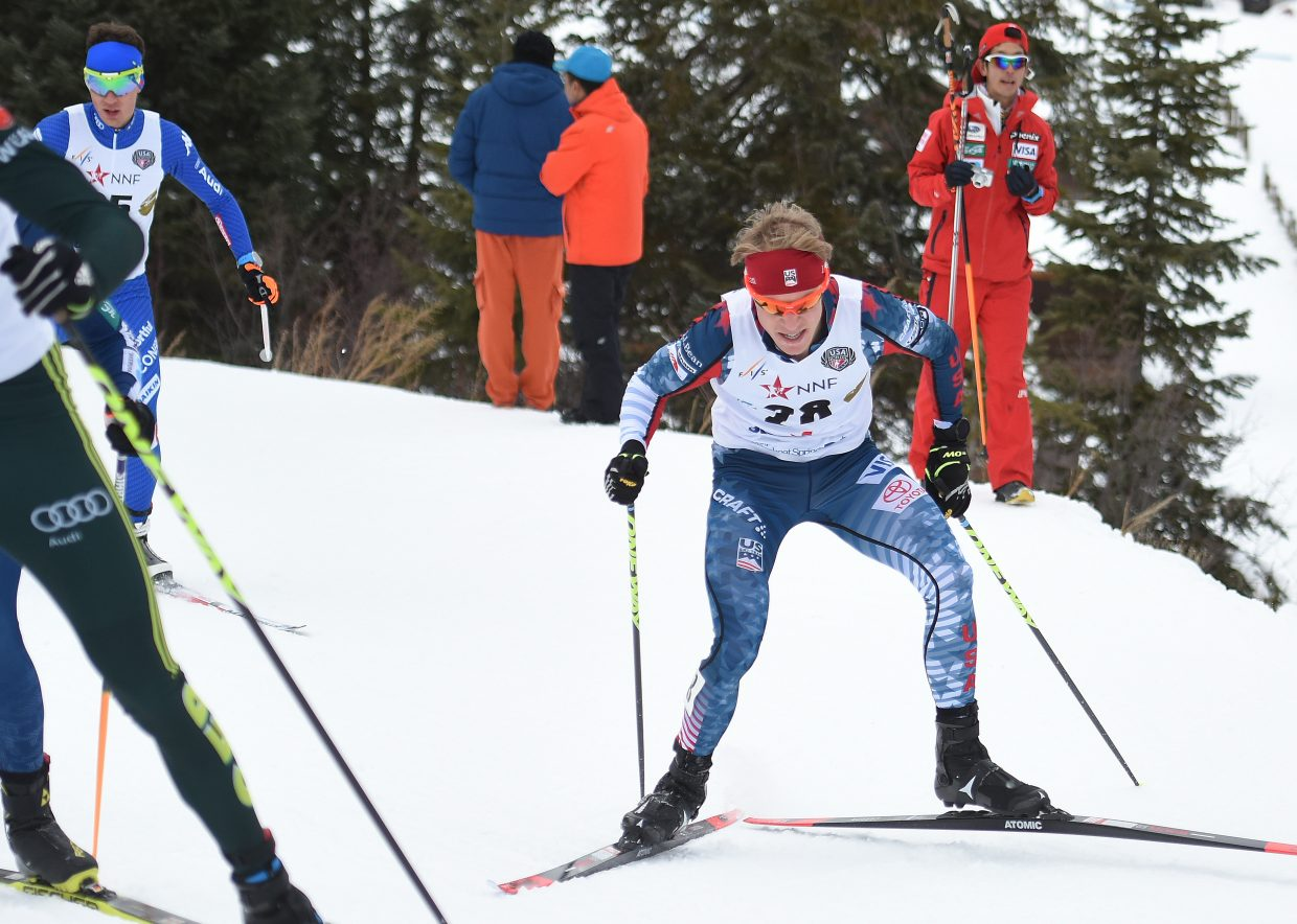 Ben Berend charges up a slope at Howelsen Hill on Saturday during a Nordic combined event in Steamboat Springs.