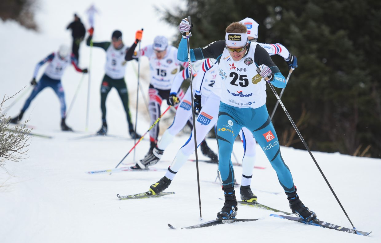 France's Hugo Buffard leads the train Saturday during a Continental Cup competition in Steamboat Springs.