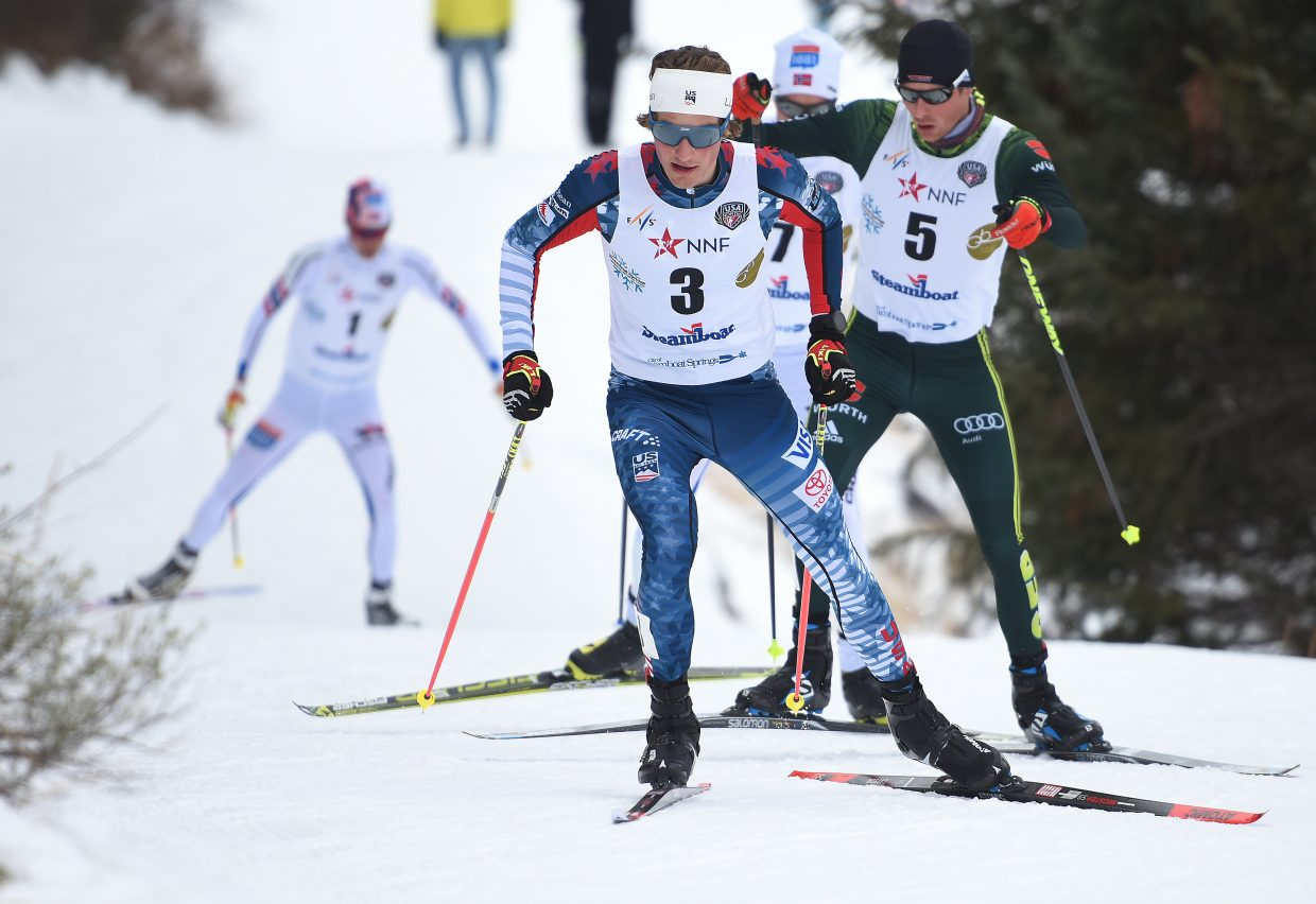 Ben Loomis leads a pack of skiers Saturday during a Continental Cup Nordic combined event in Steamboat Springs.