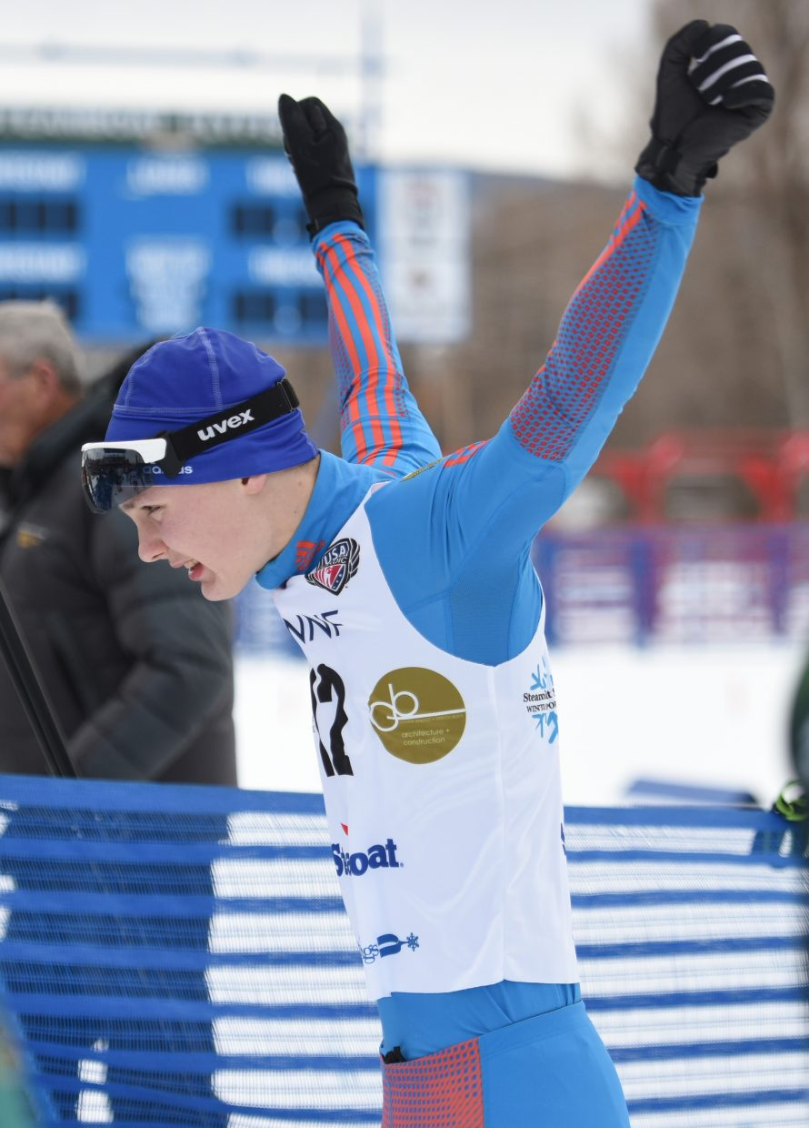 Russian skier Ivan Konoplev stretches before Saturday's Continental Cup Nordic combined cross-country ski race.