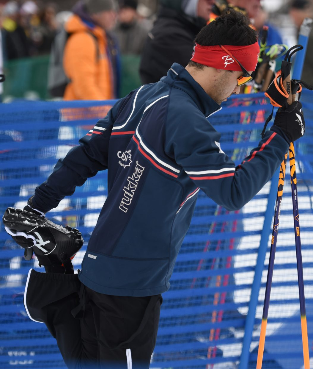 Canada's Nathaniel Mah stretches ahead of Saturday's Continental Cup Nordic combined ski race in Steamboat Springs.