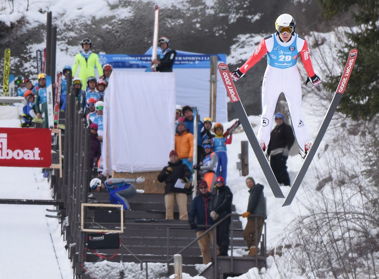 Steamboat skier Ben Berend flies off the HS75 ski jump at Howelsen Hill on Saturday during a Continental Cup Nordic combined event in Steamboat Springs.