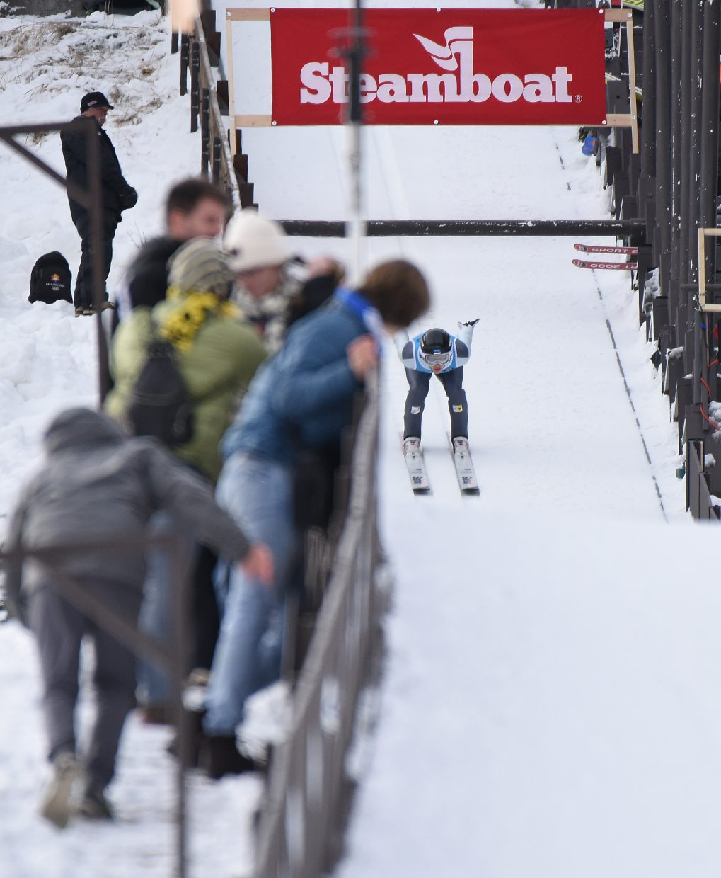 Estonian skier Han Hendrik Piho slides down the HS75 ski jump at Howelsen Hill on Saturday during a Continental Cup competition in Steamboat Springs.