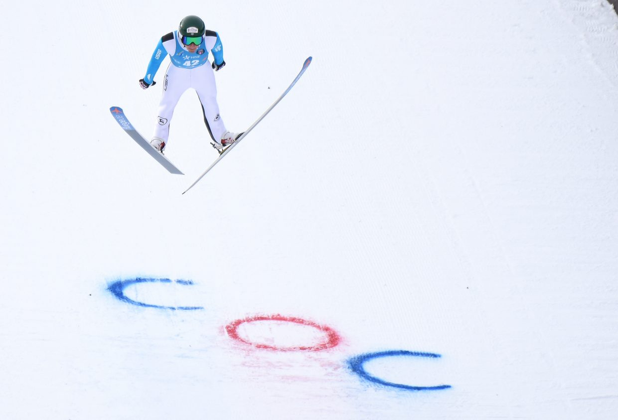 Ben Loomis flies down Howelsen Hill on Saturday during a Continental Cup event in Steamboat Springs.