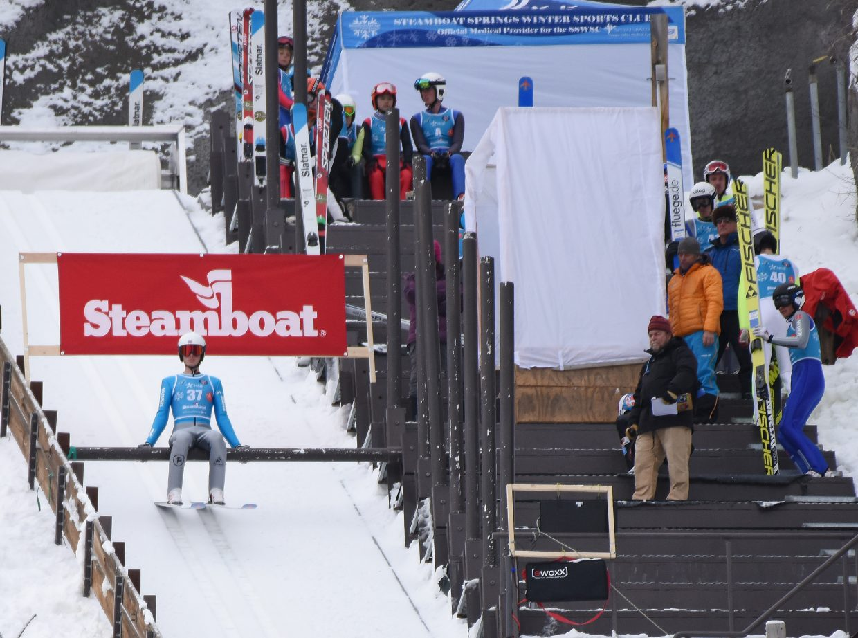 Jasper Good waits for his chance to jump of Howelsen Hill's HS75 ski jump on Saturday in Steamboat Springs during a Continental Cup competition.