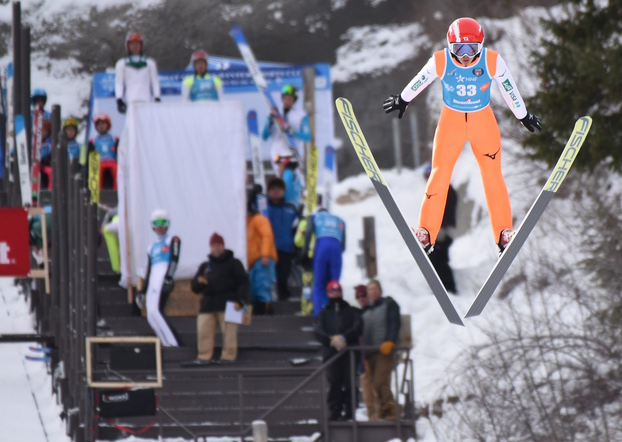 Japan's Ryota Yamamoto flies from Howelsen Hill on Saturday during a Continental Cup competition.