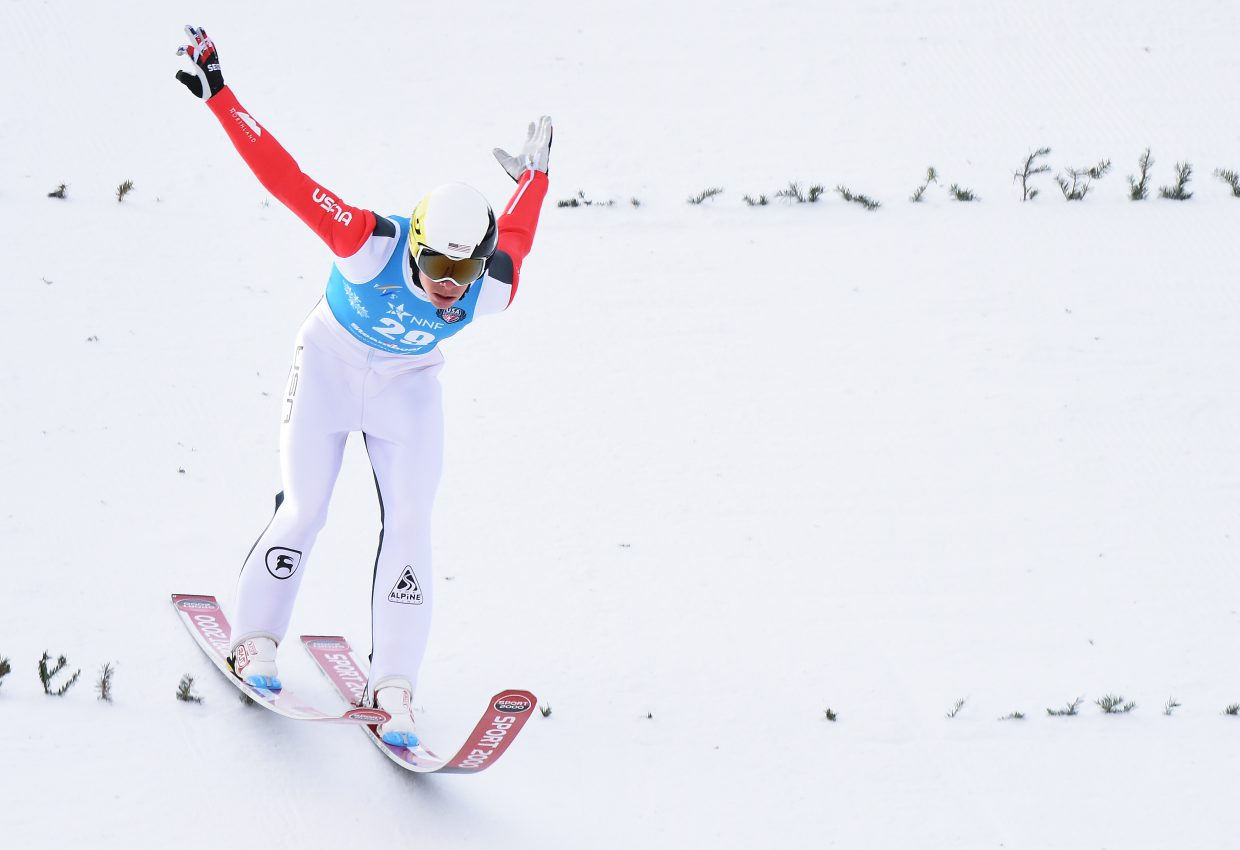 Steamboat skier Ben Berend touches down at Howelsen Hill after a jump during the Continental Cup race in Steamboat Springs.