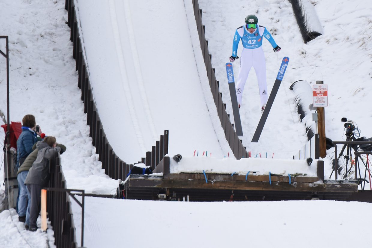 Ben Loomis flies off the end of the HS75 ski jump at Howelsen Hill in Steamboat Springs during Saturday's Continental Cup competition.