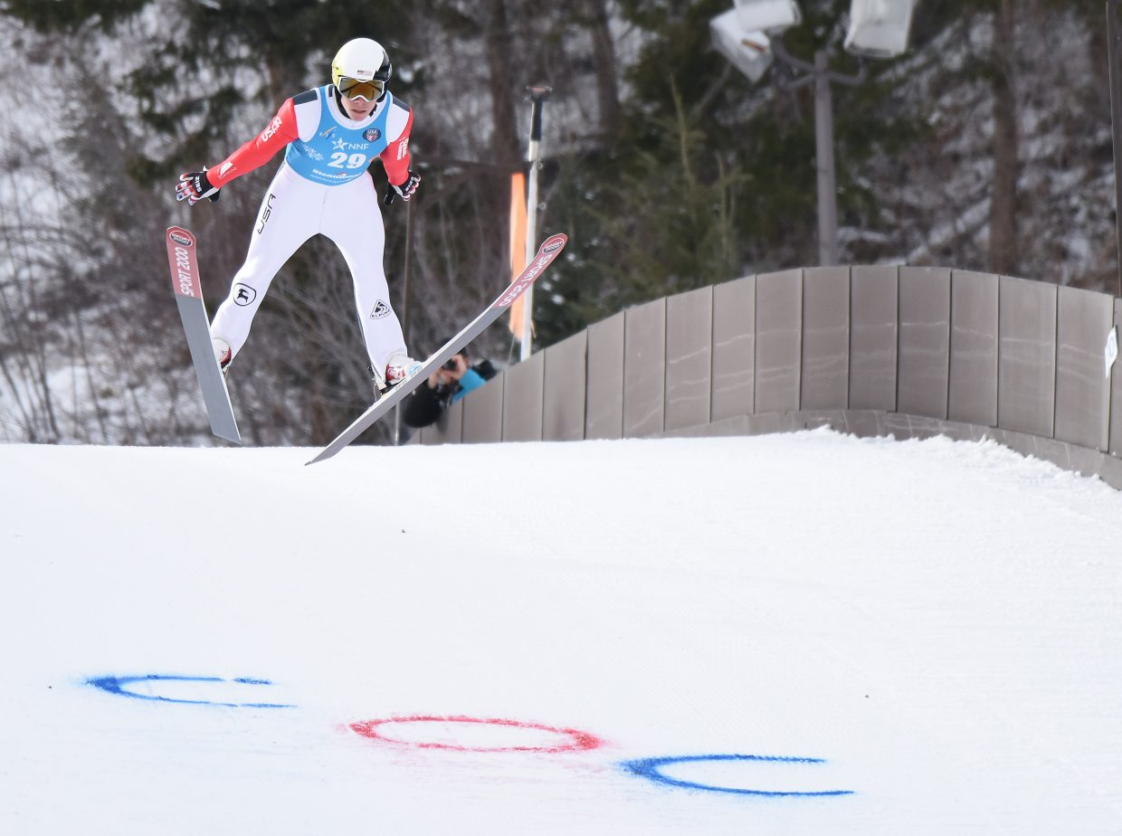 Steamboat and U.S. team skier Ben Berend flies down Howelsen Hill on Saturday during a Continental Cup competition.