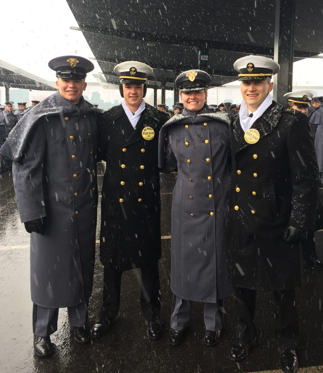 My son Charlie, who is a plebe at West Point, sent this picture that was taken before the game Saturday. It shows the four graduates of Steamboat Springs High School who are currently attending service academies: Cadet Charlie Harrington, Midshipman Grant Janka, Cadet Maddie Ruppel, and Midshipman Connor Frasier. Having four from our small community is noteworthy, and it was special that they could all connect before the game. For the record, Army won 14-13 in a snowy game! Brian Harrington