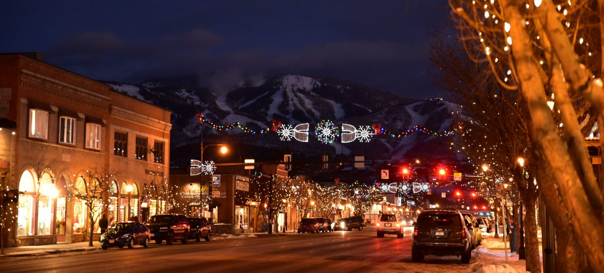 Downtown Steamboat Springs the evening of Dec. 15, 2017