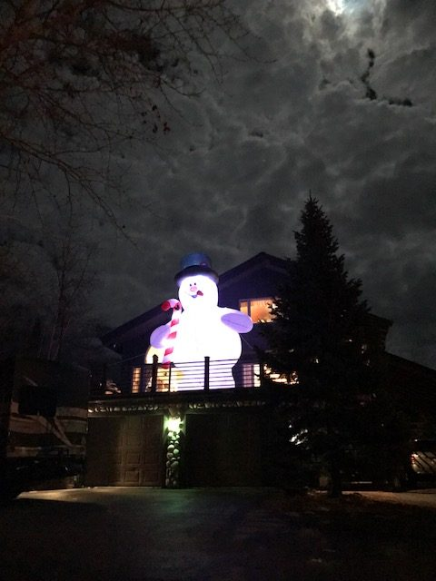 My husband always try's to go bigger each year when it comes to Christmas decorating. So he got an 18 foot high Frosty this year. He's usually up in the evening if the weather is good! He's on Mauna Kea Lane up Fish Creek Falls road if anyone wants to see him.