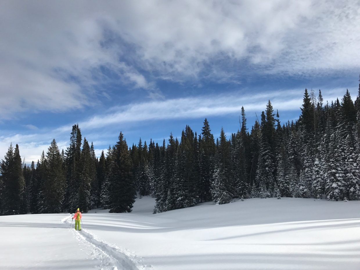 Beautiful day snowshoeing Rabbit Ears Pass with my brother, Joey.
