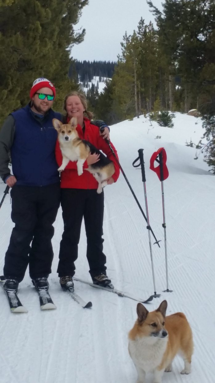 Meredith Rose and Riley Hamlin enjoying Steamboat snow with Pippen and Joy!