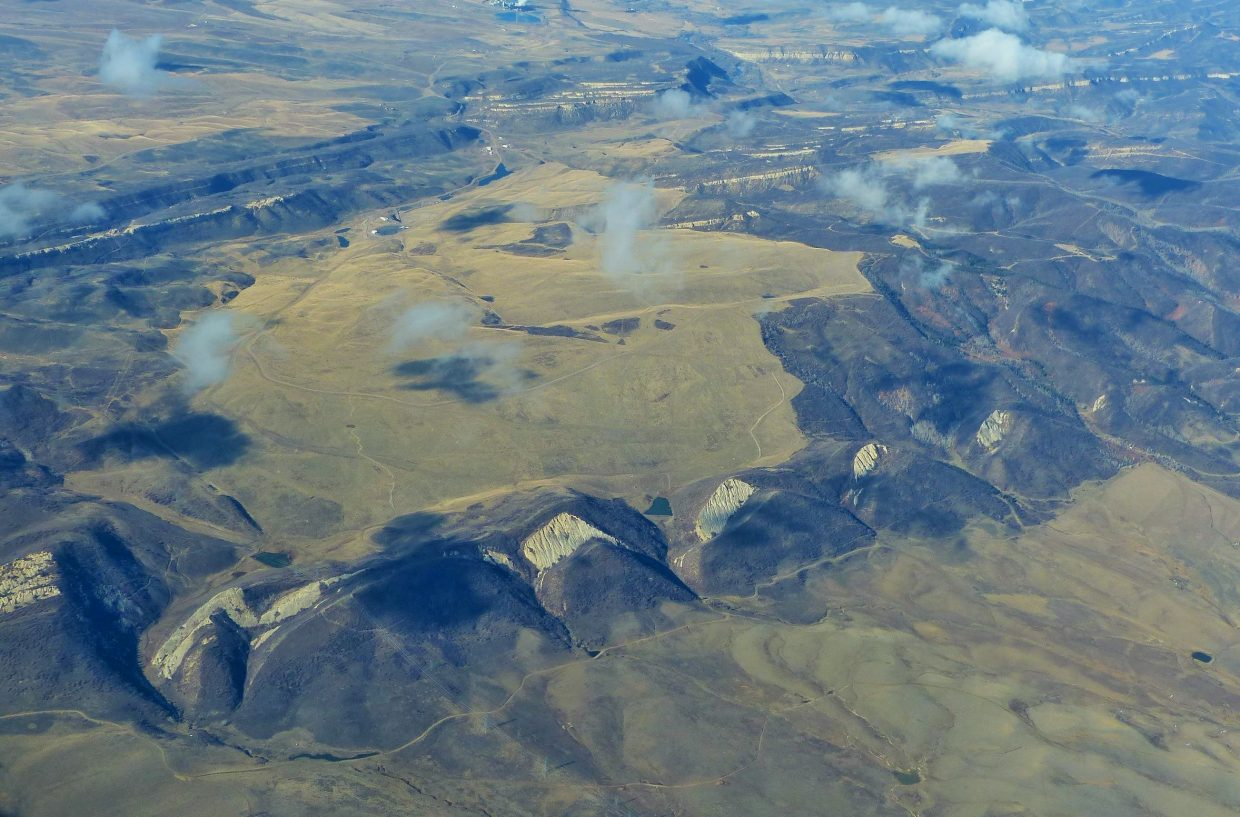 Yampa Valley from the sky: an interesting series of rock formations that looks like the back of a dinosaur.
