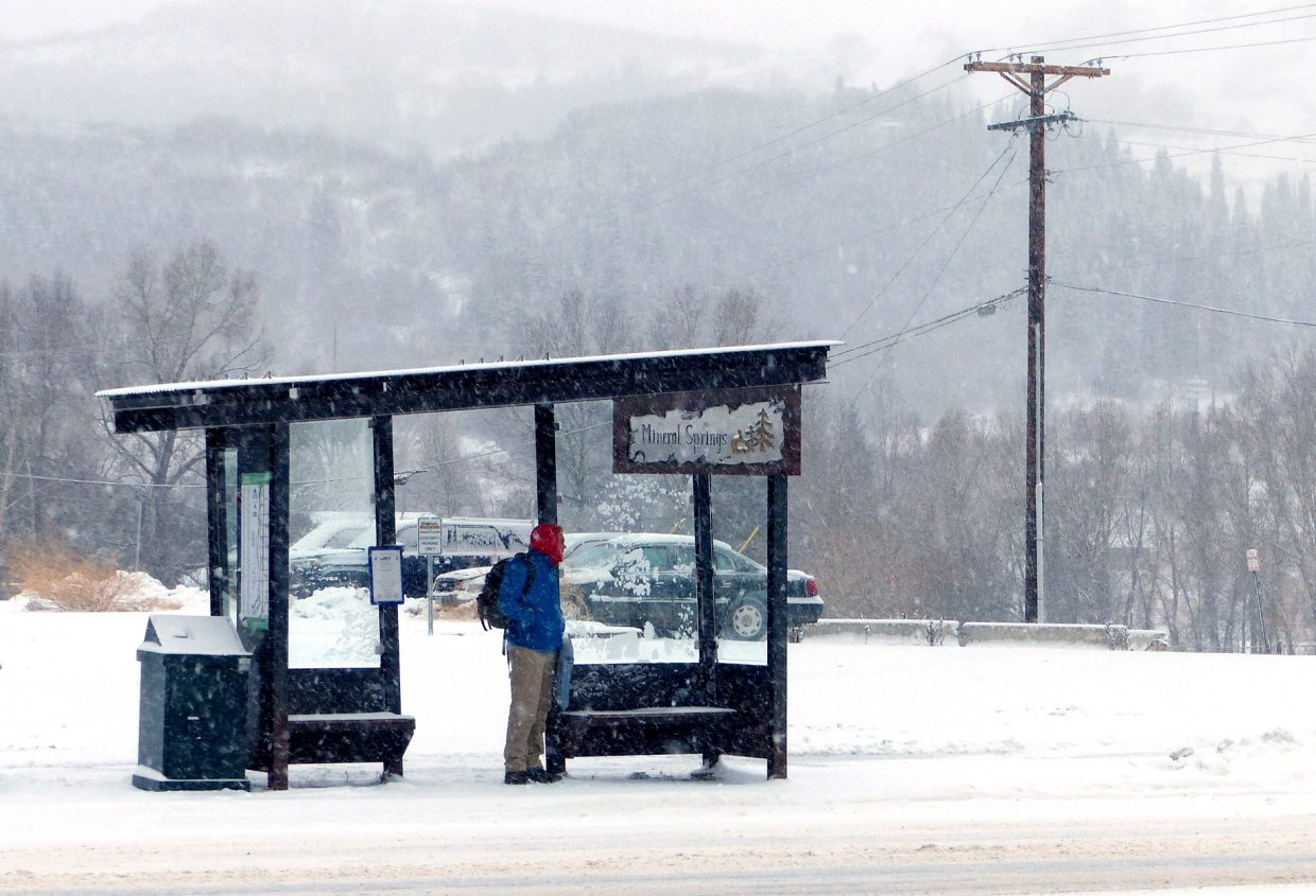 Snowy Steamboat bus stop.