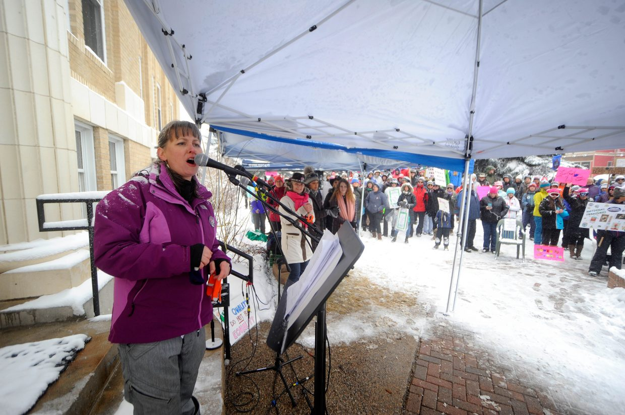 Tera Johnson speaks Sunday during the Women's March in Steamboat Springs.