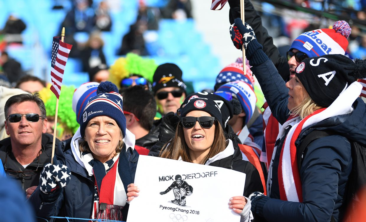 Family and friends of Mick Dierdorff cheer their favorite athlete at the 2018 Winter Olympics.