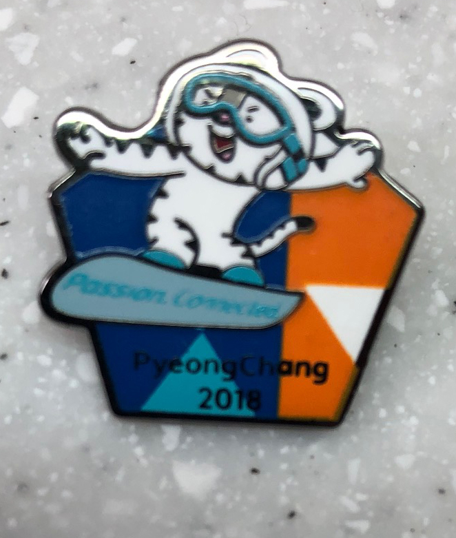 Mascot snowboard pin Acquired: Trade with Korean volunteer. Thoughts: One of my first volunteer trades. It's a pretty standard pin that was available many places for purchase, but I like that it's Pyeongchang-specific and specific to a sport I spent a lot of time covering. Rating: 7