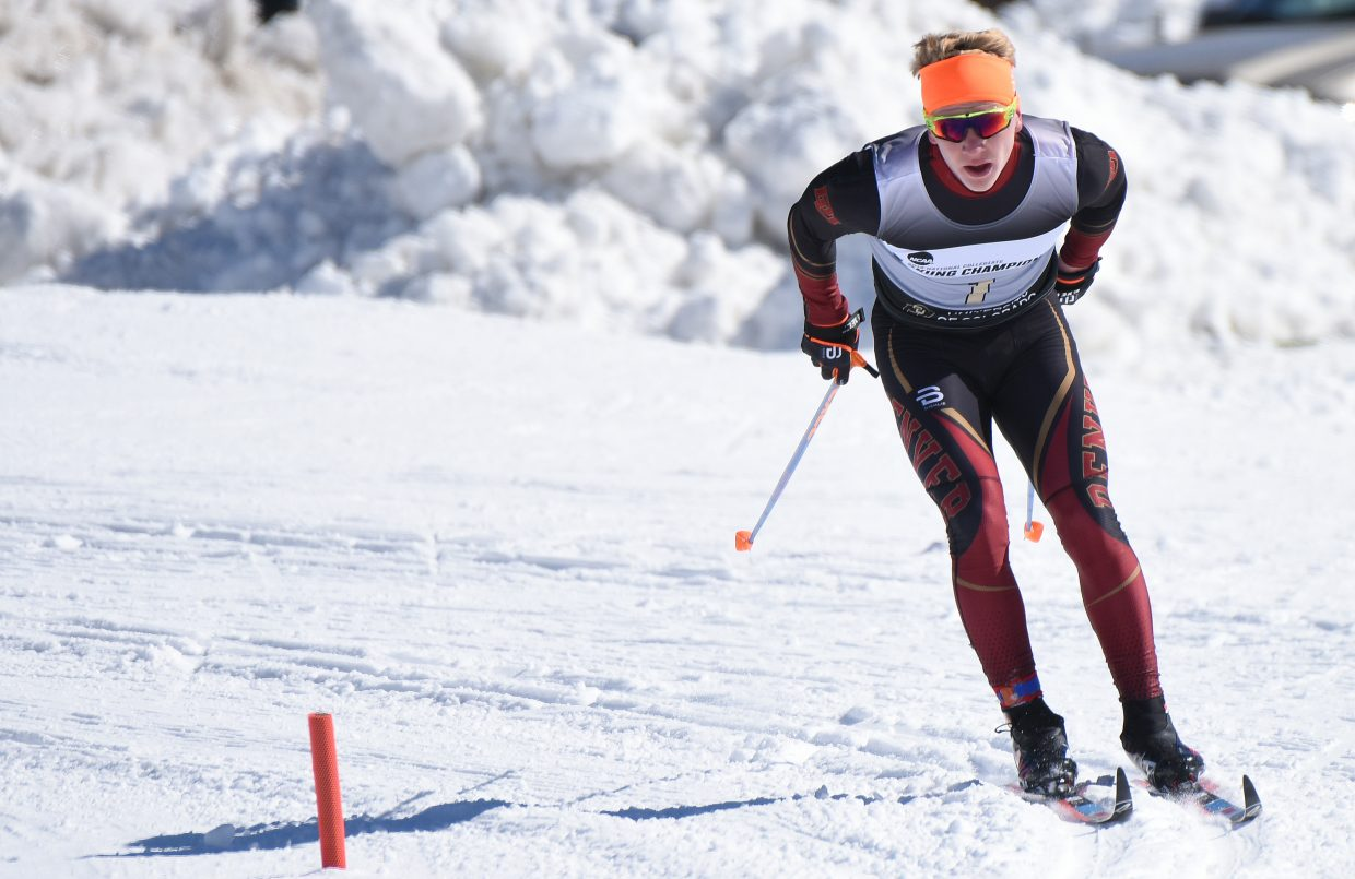 University of Denver skier Lars Hannah works his way down the course Thursday in the men's 10-kilometer classic ski race at the NCAA Ski Championships in Steamboat Springs. Hannah, from Steamboat, placed 21st as his team jumped up into second place overall.