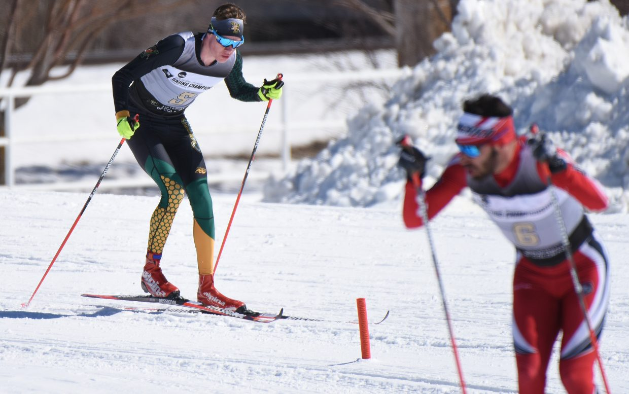 Finn O'Connell tries to chase down a competitor Thursday during the men's NCAA Ski Championships 10K Classic ski race at Howelsen Hill in Steamboat Springs. O'Connell grew up skiing in Steamboat Springs but now competes for University of Vermont.